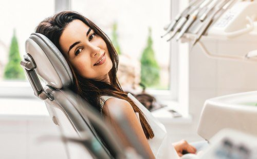 Relaxed woman in dental exam room